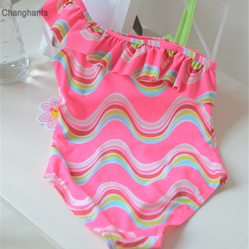 New Cute Girls One Piece Swimsuit Pink with Wave Pattern Baby Kid Swimwear Children Bathing Suit Kids Beach Wear in Children 39 s One Piece Suits from Sports amp Entertainment