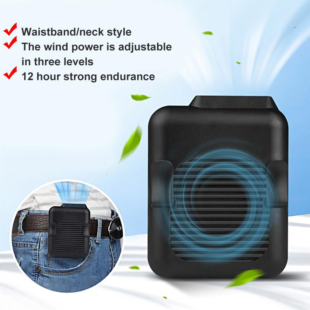 Summer Portable USB Hanging Clip On Waist Belt Neck Hands-free Air Cooling Fan Built-in Rechargeable Battery, Long Using Time.