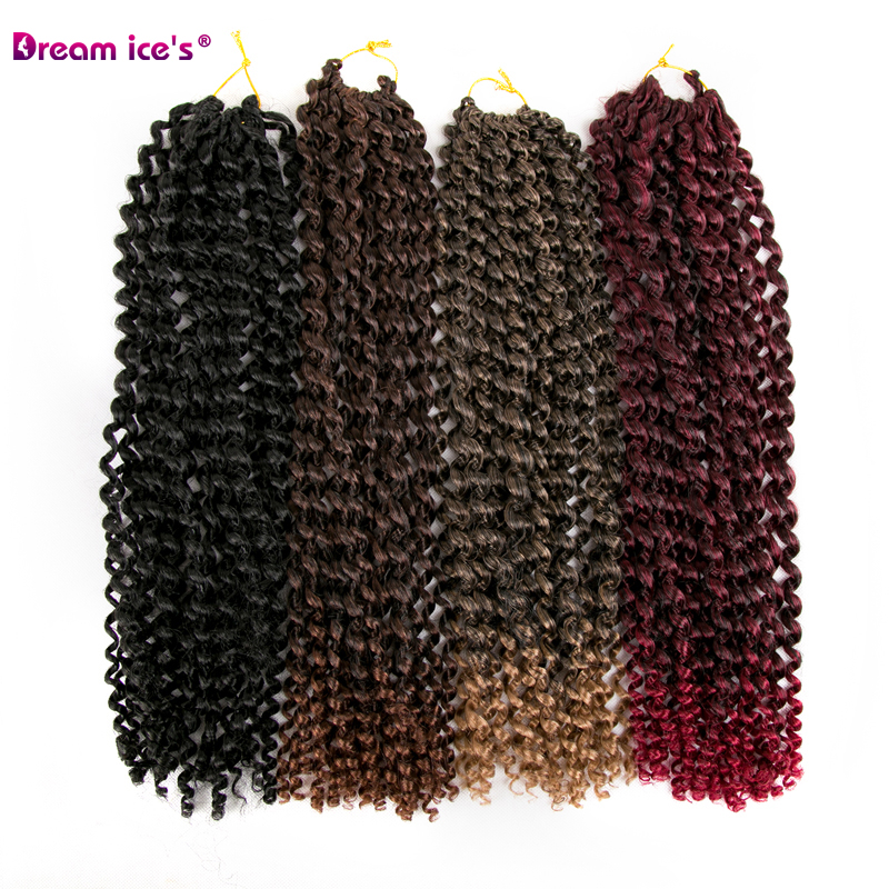 Synthetic Ombre Afro Water Wave Crochet Hair Extensions 18 Inch Long 80g One Piece