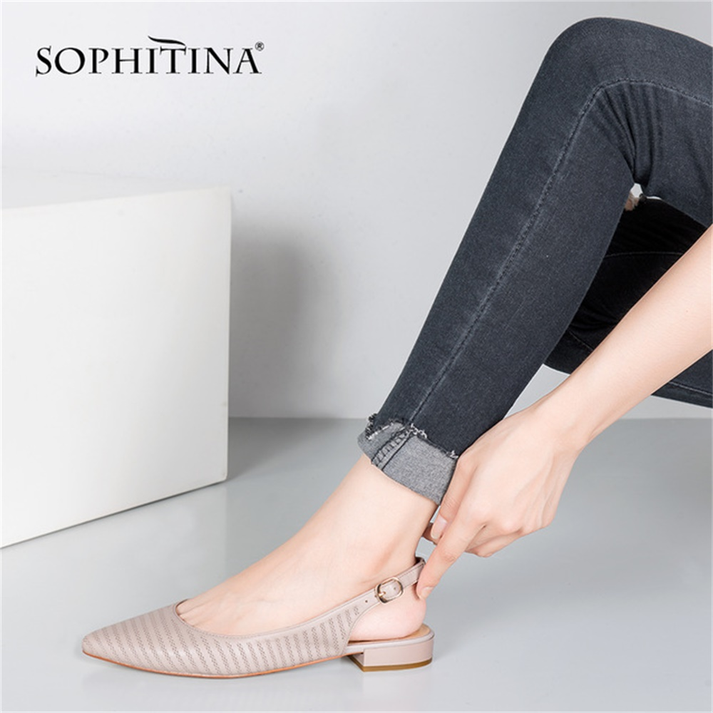 SOPHITINA Gingham Sheepskin Flats Sexy Pointed Toe Genuine Leather Slingbacks Flats High Quality Handmade Office Lady Shoes P64