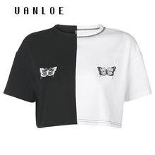 Женская свободная футболка с принтом бабочки летняя уличная