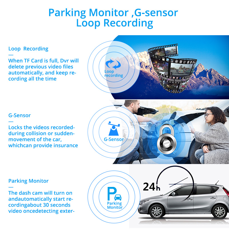 E-ACE B13 Автомобильный видеорегистратор 4,0 дюйма видеорегистратор 3 камеры Автомобильный регистратор FHD 1080P видеорегистратор Двойной объектив...