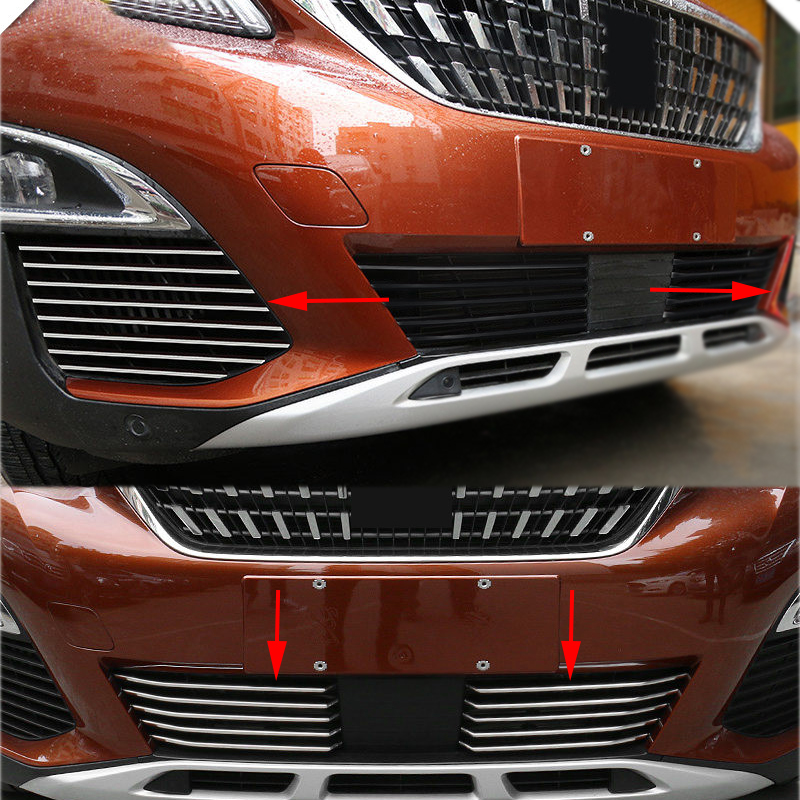 For <font><b>Peugeot</b></font> 3008 GT 2017 2018 2019 2020 Front Bottom Grille Grill Cover + Fog Light Racing Grills Grille Trim <font><b>5008</b></font> GT 2017-2020 image
