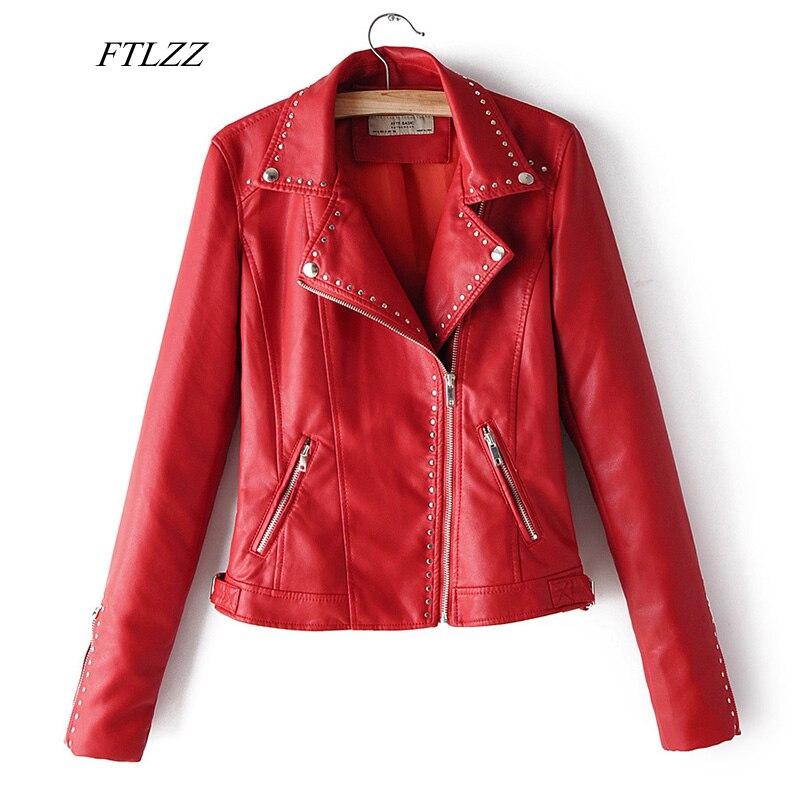 FTLZZ 2020 Spring Faux Soft Leather Pu Jacket Coats Women Faux Leather Moto Rivet Zipper Black Red Biker Jacket Punk Outerwear