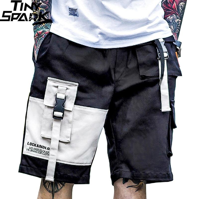 Summer 2019 Harajuku Cargo Shorts Pockets Color Block Men Hip Hop Short Joggers Streetwear Tatical Military Baggy Short Hipster