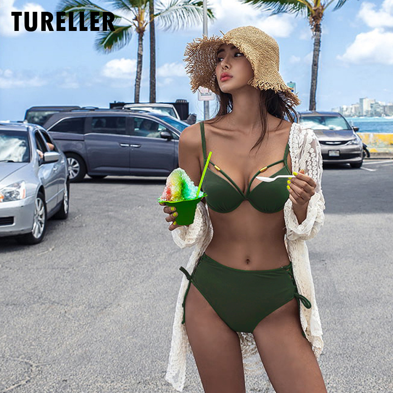 Female Swimsuits 2020 New Bikini Swimwear Women Swim Suit Solid Sexy Two Pieces Backless Bathing Suit Girl Red Bikini