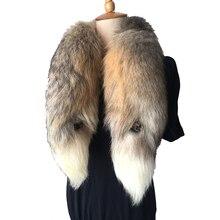Real fur collar Fashion Winter Warm Fur Fox Arctic FOX TAIL 100% Scarf Collar Men&Women Long 90cm