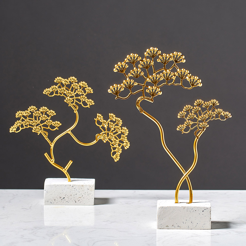 Nordic Iron Golden Plants Trees Ornaments Fengshui Modern Minimalist Decor Home Decoration Desk Accessories for Living Room Gift