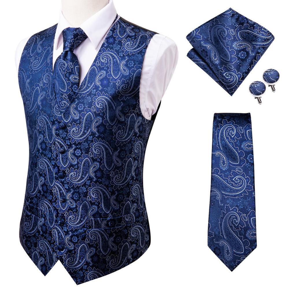 Hi Tie 20 Color Silk Men's Vests and Tie Business Formal Dresses Slim Vest 4PC Hanky cufflinks for Suit Blue Paisley Waistcoat