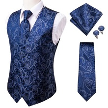 Cufflinks Suit Vests Waistcoat Formal-Dresses Blue Paisley Men's And Silk Business Tie
