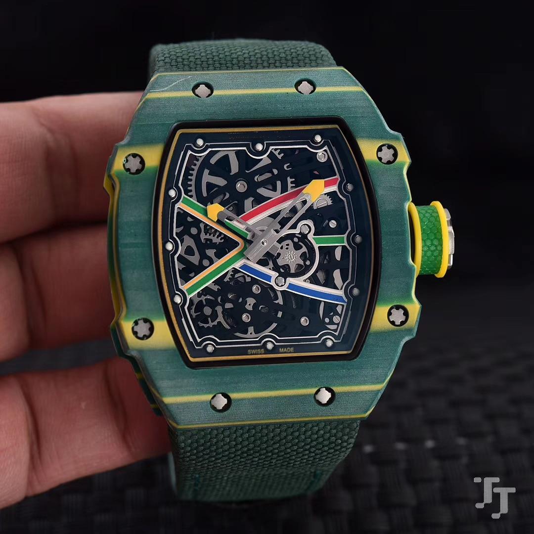 Brand New Men Automatic Mechanical White Green Canvas Bracelet Pink Watch Tourbillion Limited Sapphire Carbon Fiber Swing 28800