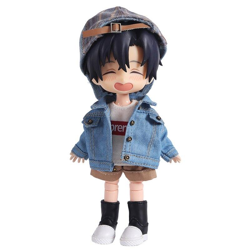 1:12 Scale Doll Clothes Fashion Denim Jacket Sweatshirt For OB11, Obitsu 11, Molly, 1/12 BJD Doll Accessories Gift For Girls