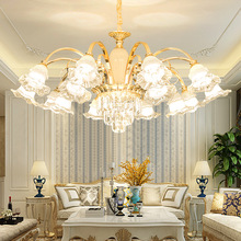 European Crystal Gold Chandelier Living Room Dining Room Bedroom Hotel Villa Luxury Lamps Cafe Pendant Light post modern crystal chandelier designer stainless steel hotel sample room metal light luxury bedroom dining room lamps