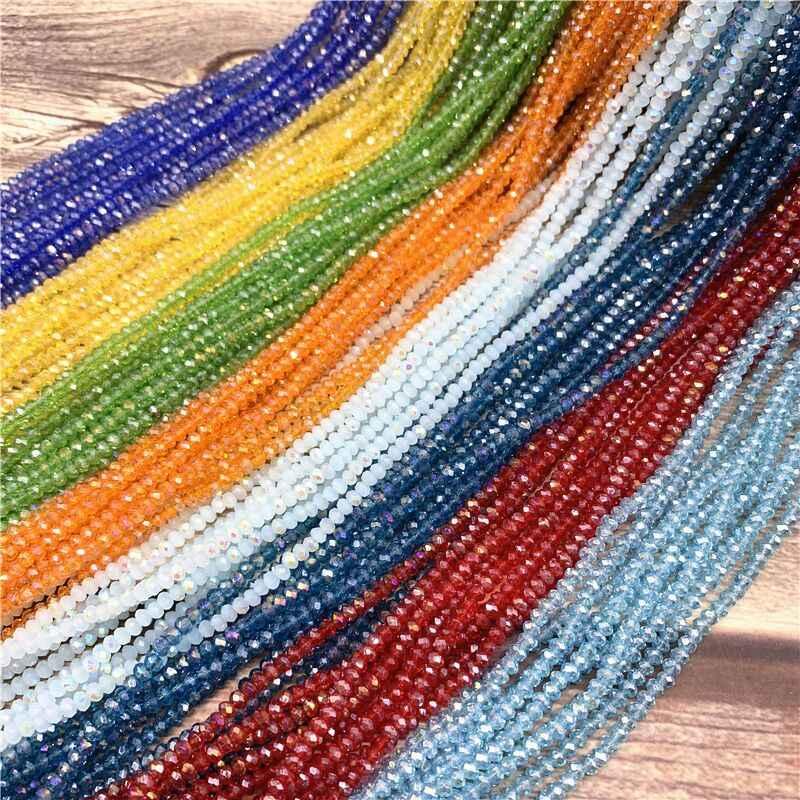 סיטונאי 2X3mm 195pcs צ 'כי קריסטל חרוזים תכשיטי ביצוע Diy רקמה AB צבע Spacer פיאות זכוכית חרוזים