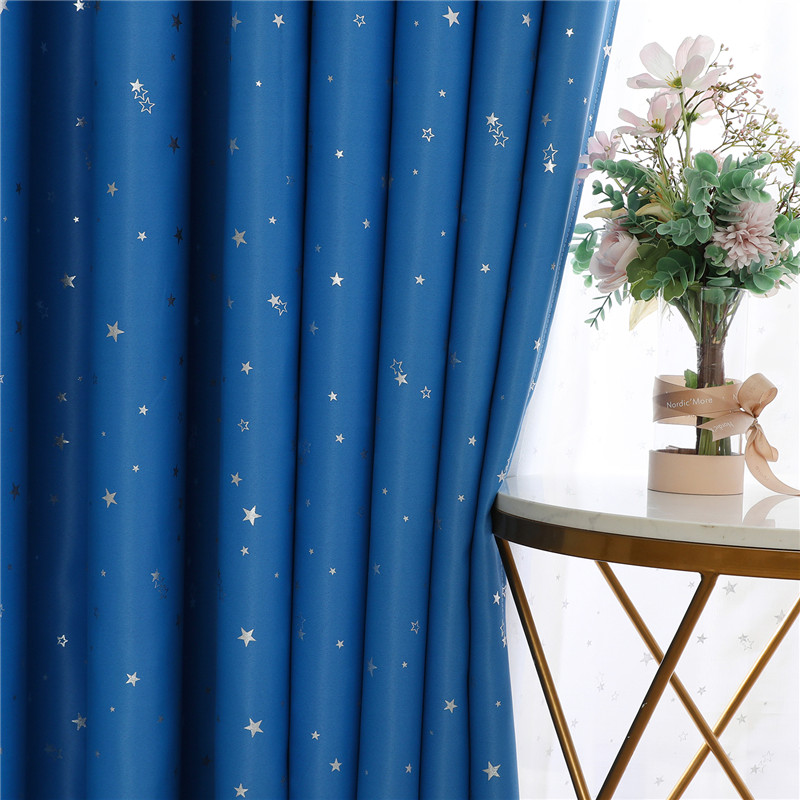 Blue Lucky Star Printed Blackout Curtains For Living Room Kids Room Bedroom Modern Window Treatment Drapes 100% Polyester Pink