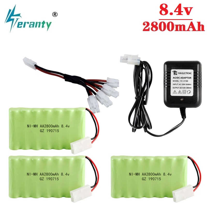 Upgrade 8.4v 2800mah NiMH Battery Charger Sets For Rc Toys Cars Tanks Trucks Robots Guns Boats AA 8.4v Rechargeable Battery Pack