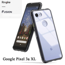 Ringke Fusion for Google Pixel 3a XL Clear PC Back Cover and Soft Frame Hybrid  Mil Drop Protection
