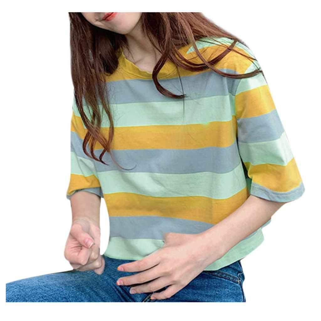 Maglietta di Modo Delle Donne O-Collo A Righe di Stampa T-Shirt Mezza Manica Magliette e camicette di Estate Poleras Camiseta Mujer Top Delle Donne Harajuku Maglietta Haut