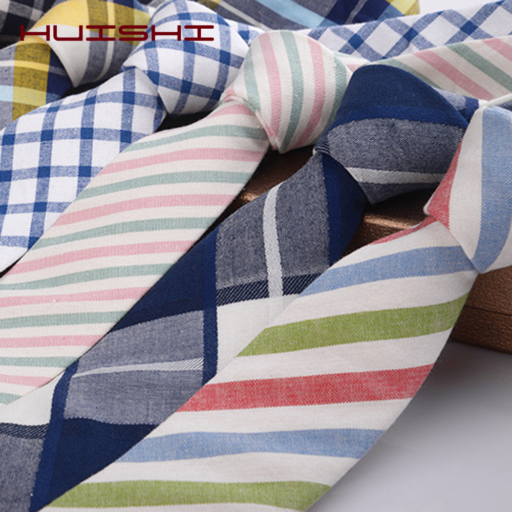 HUISHI New Classic 100% Cotton Men's Stripe Tie 6cm Neck Ties Plaid Striped Necktie For Men Formal Business Luxury Wedding Party
