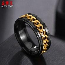 Auxauxme – bague Spinner Punk Rock pour hommes, anneau en titane, acier inoxydable, or, chaîne noire, anneaux rotatifs pour hommes, accessoires