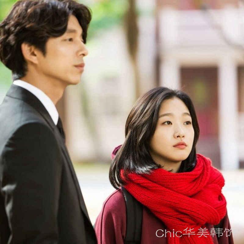 Goblin: yalnız ve Büyük Tanrı Kore Drama K-Drama Goblin Yoo In-Na Kırmızı Eşarp Büyük Kalın Örgü eşarp Kadın Cosplay Kpop