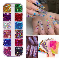Mixed Colors DIY Nail Art Accessories Holographic Nail Glitter Sequins 3D Mirror Sparkly Butterflies Nail Sequins Paillette