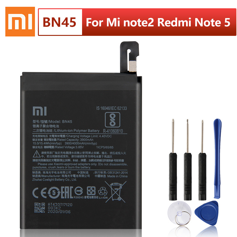 Original XIAOMI BN45 Replacement <font><b>Battery</b></font> For Xiaomi <font><b>Mi</b></font> Redmi Note <font><b>5</b></font> Redmi note5 Redrice Note5 Authentic Phone <font><b>Batteries</b></font> 4000mAh image