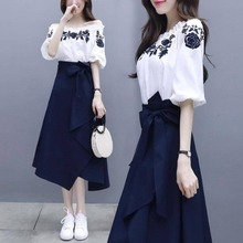 Women A-line Embroidery Tshirts Short Sleeve White Tops + Geometric Elastic Waist Long Skirt Suit Summer Female 2 Piece Set