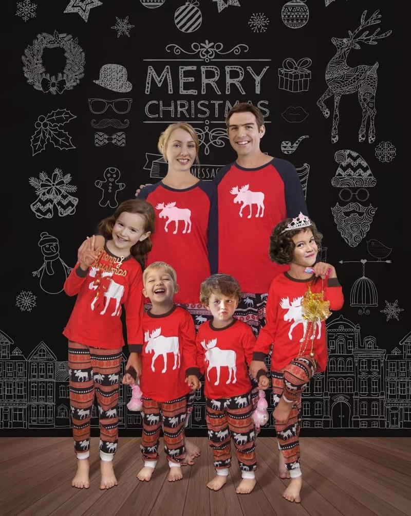 2019 Christmas Family Matching Pajamas Set Warm Adult Kids Pajamas Cotton Baby Romper Sleepwear Xmas Family Matching Clothes