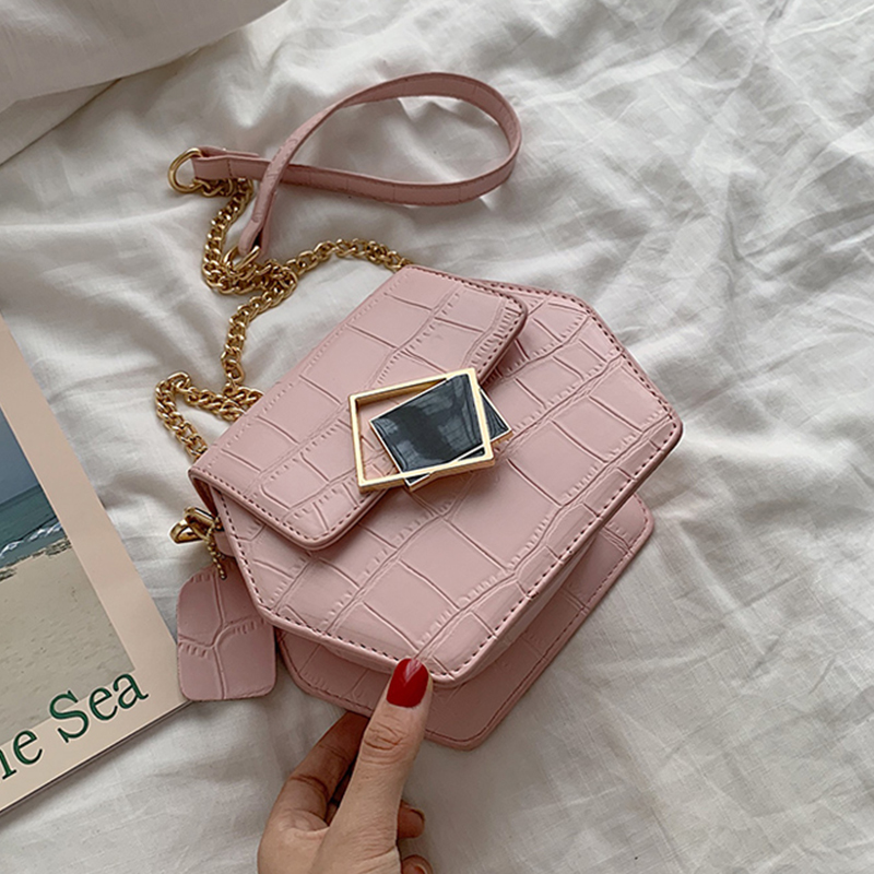 Women Fashion Bags Stone Pattern PU Leather Shoulder Messenger Bag Lady Crossbody Mini Bag Female Crown Evening Bags With Chain