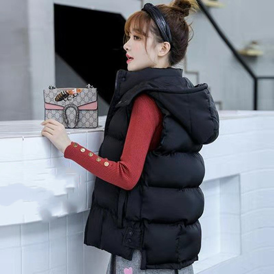 Black/White Women's Winter Vest Sleeveless Jacket Women Warm Vest Coat Waistcoat Plus Size XL 2019 Female Winter Clothes