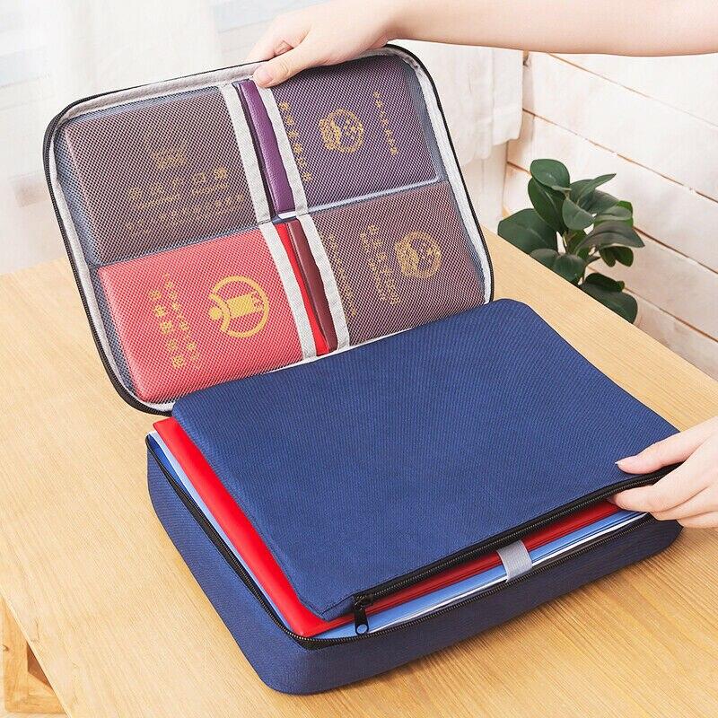 Documents Organizer Bag Multifunctional Zipper Credentials Holder Storage Bag Damp-proof Passports Packing Cube Travel Handbag