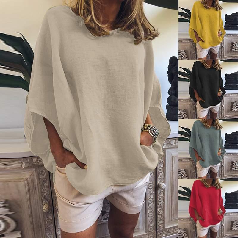 ZANZEA Women's Blouse Ladies Solid Shirts Blusas Casual O Neck Cotton Tunic Tops Vintage Blusas Femininas Women's Shirts S-5XL
