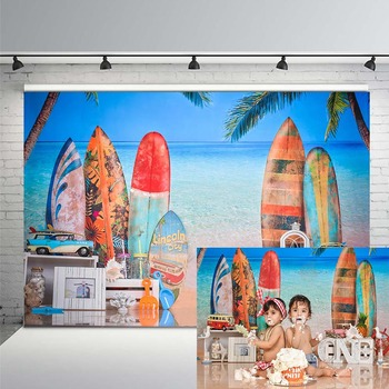 Summer Surfing Photography Background Surfboard Beach Sea Blue Sky Birthday Party Backdrop Photocall Studio Backdrops jucaili 10pcs ffc flat data cable 29pins 400mm for epson xp600 print head cable for skycolor allwin aifa witcolor printer 29p