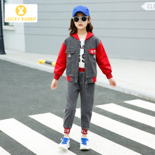 Korean Design Kids Girls Denim Outfit Patchwork Hooded Jacket Clothing Single Coat