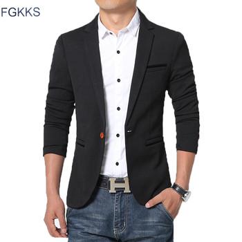 FGKKS New Arrival luksusowe mężczyźni Blazer nowa wiosna moda marka Slim Fit mężczyźni garnitur Terno Masculino Blazers mężczyzn tanie i dobre opinie REGULAR Spandex COTTON Wool Jednego przycisku Pełna Men Blazers Smart Casual Flannel