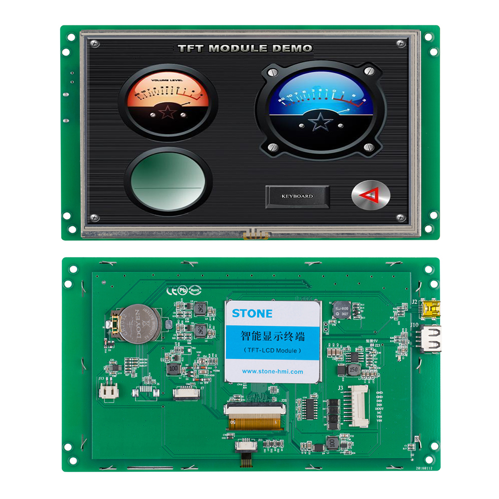 Customized LCD 7 Inch Industrial TFT Display with RS232 Interface for Equipment Use
