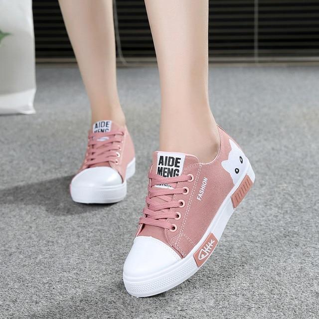 2020 zapatillas de lona vulcanizadas para mujer, zapatillas de plataforma para mujer con Gato de dibujos animados, zapatos de mesa para mujer, zapatos de punta redonda de talla grande 41 2