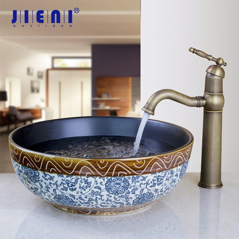 Jieni Tranditional Design Ceramic Wash Basin Faucet Set Bathroom Ceramic Round Sink Antique Brass Deck Mounted Tap Mixer Faucet Bathroom Sinks Aliexpress