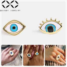 Quinby Street Style Adjustable Rings For Women Gold Wedding Party Evil Eye Rings Girl Statement Finger Ring Blue anillos Q5 цены