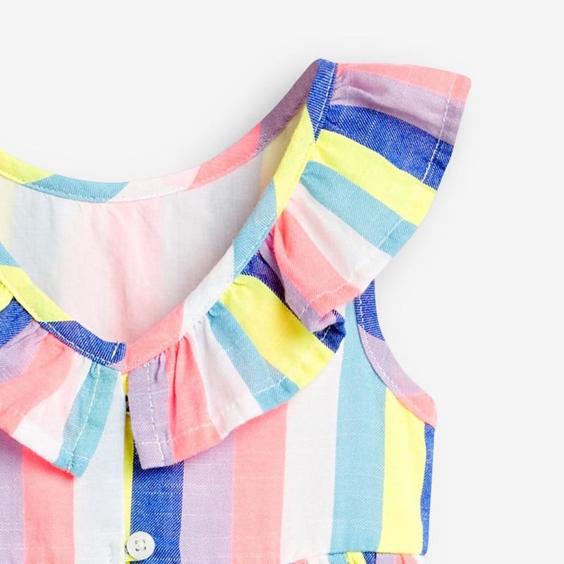 Little maven 2021 Dress Rainbow Colorful Girls Party Dresses for Kids Clothes Cotton Little Toddler Princess Dresses Vestido 4