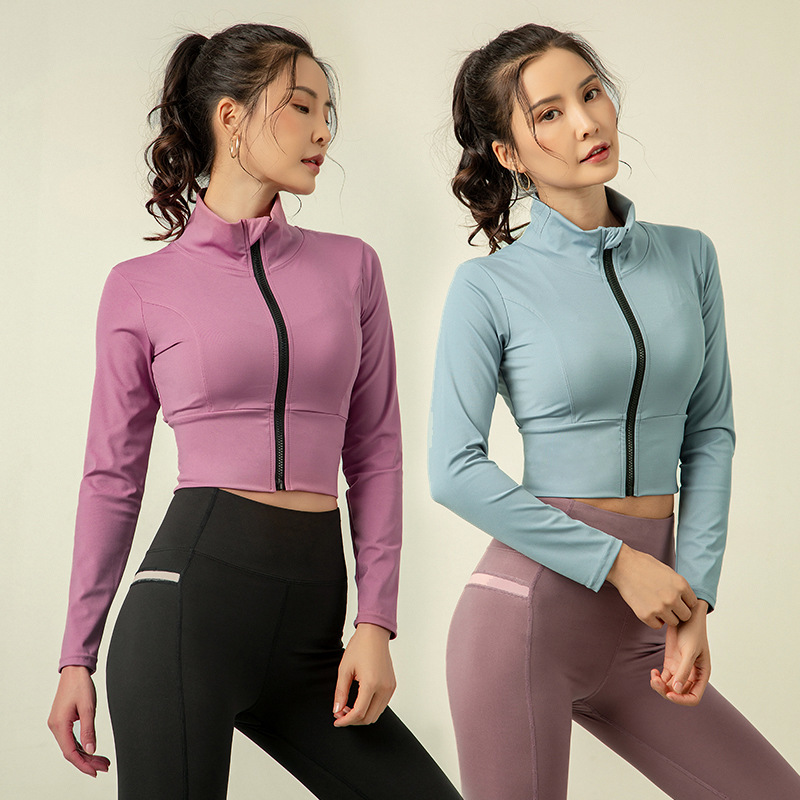 Elastic Zipper Running Jacket Women Sportswear Women Winter Sport Jackets Yoga Jacket Sports Jacket For Running Fitness Jacket