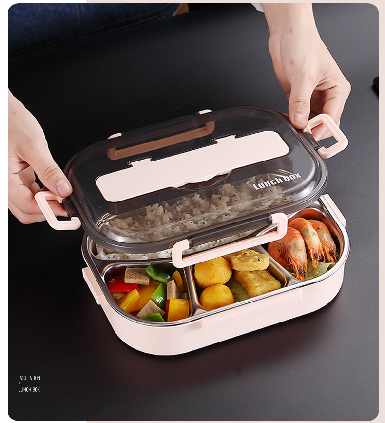 H8dc5133cb8f14cb8a364d552b27b464fe - WORTHBUY Japanese Kids Lunch Box 304 stainless steel Bento Lunch Box With Compartment Tableware Microwave Food Container Box