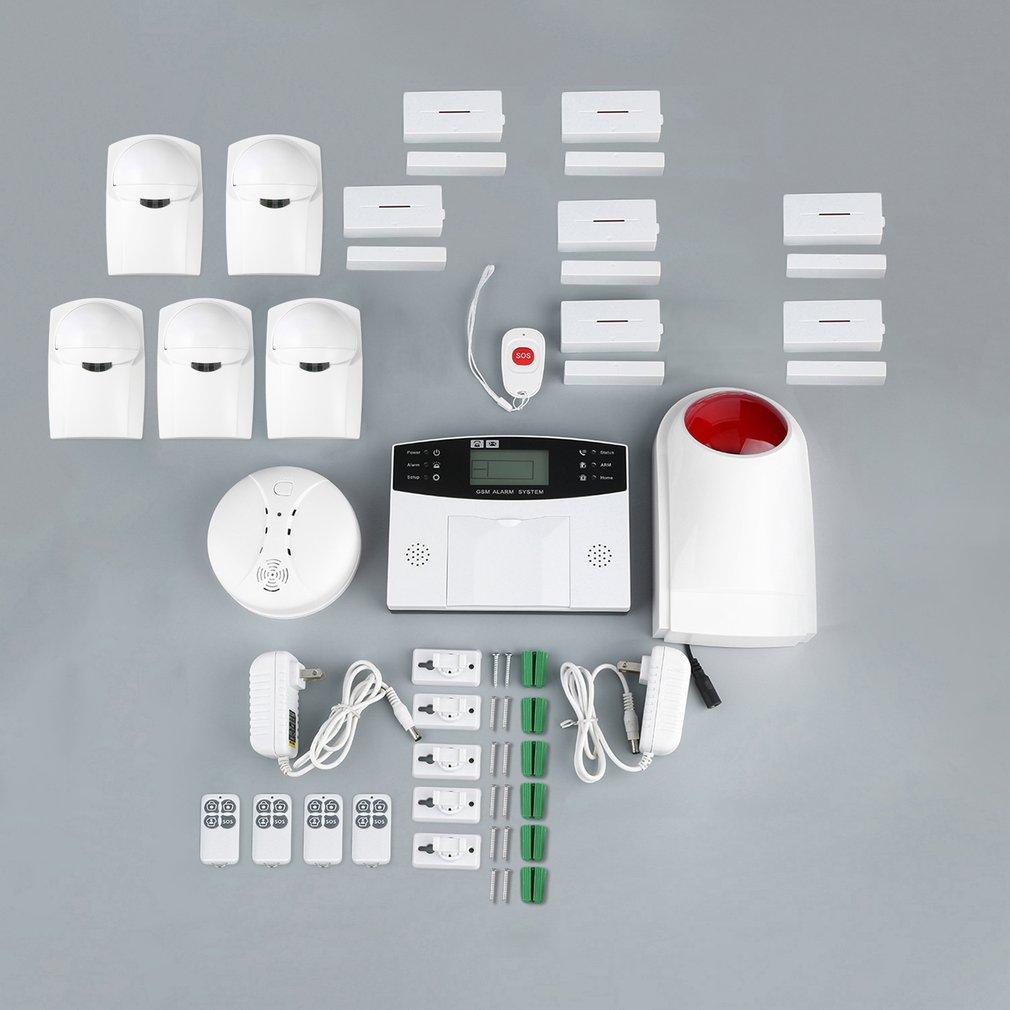 22pcs GSM Wireless Smart Voice Anti-theft Alarm System with LCD Display&Anti Pet&Smoke&Magnetic Door Detector&Strobe Siren US
