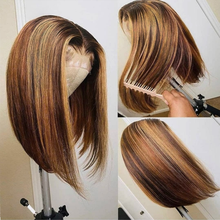 Straight Lace Bob Wig Omber Highlight Brown Middle Part Lace Wig Malaysia Human Hair T Part Lace Wigs Remy Transparent Lace Wig