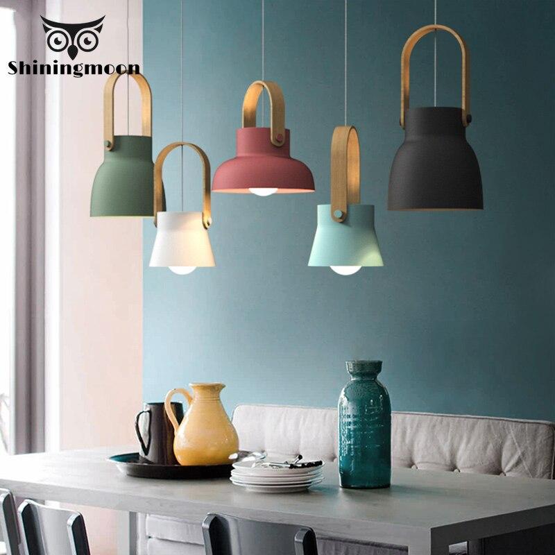 Loft nordique LED fer pendentif lumières Restaurant chambre Simple suspension lampe maison intérieur cuisine art de suspension lampe éclairage