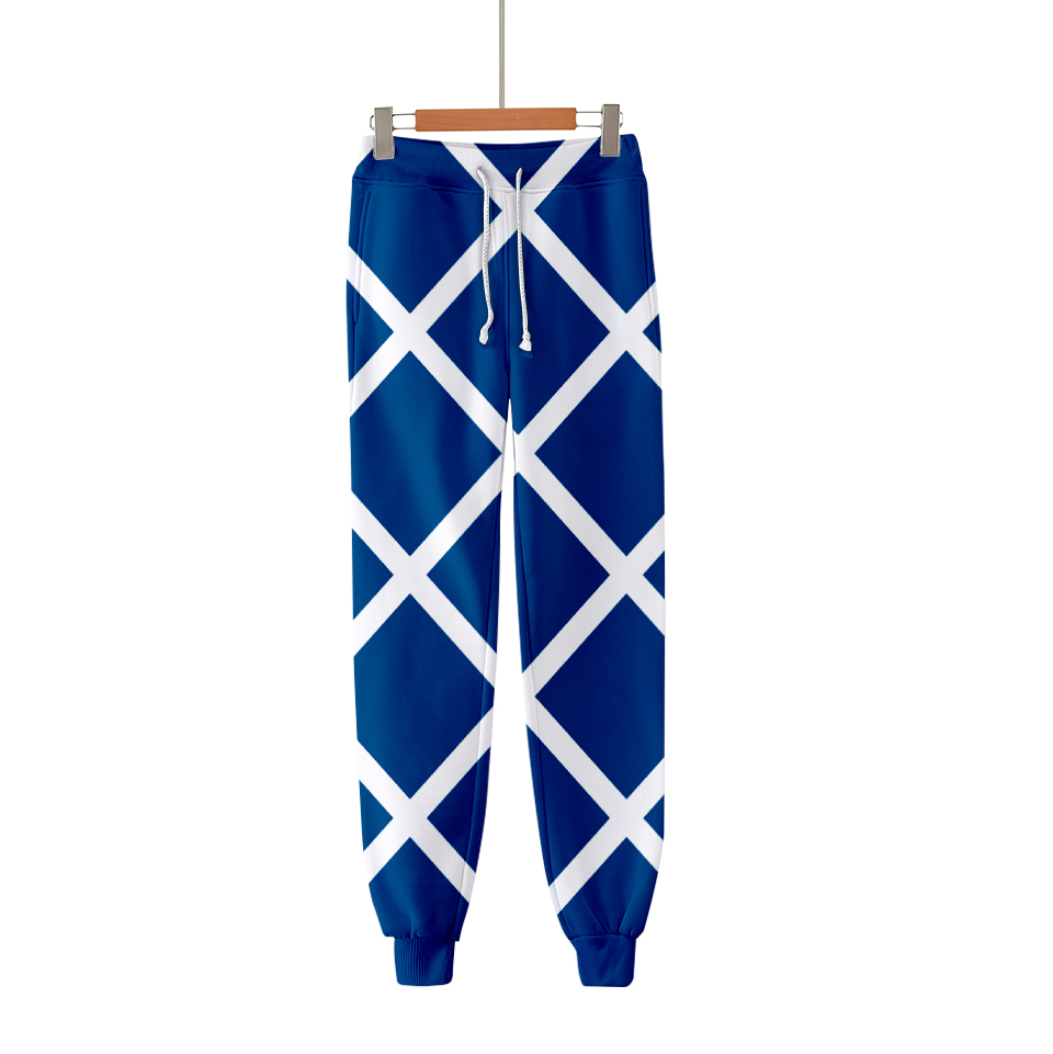 3D JOJO's Fantastic Adventure Character Suit Pants Men Women  Fashion Fall Hip Hop Casual 3D JOJO Blue And White Plaid Trousers