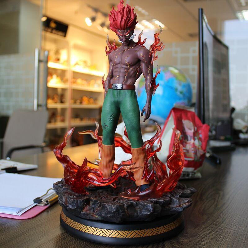 Naruto pode cara estátua figura de ação pvc oito-porta armadura led olhos naruto shippuden anime collectible modelo brinquedo estatueta