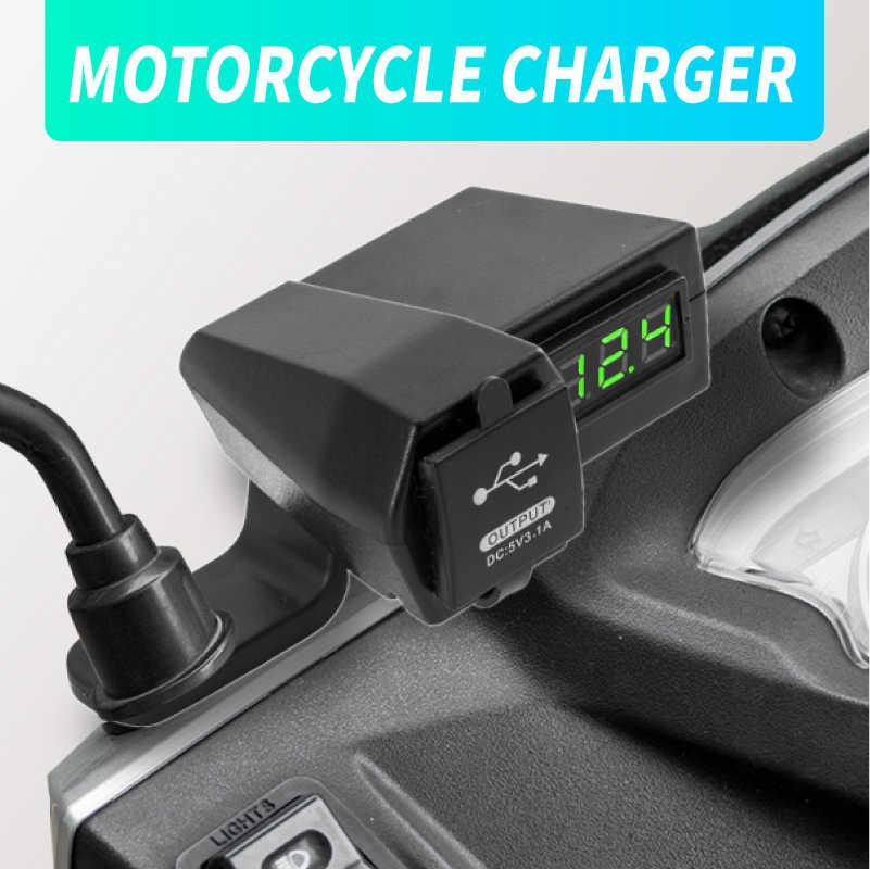 Màn Hình Hiển Thị Điện Áp Chống Nước 12-24V USB Xe Máy Điện Cung Cấp Ổ Cắm Sạc Công Tắc Phụ Kiện Có Công Tắc Tắt/Mở adapter 4.2A