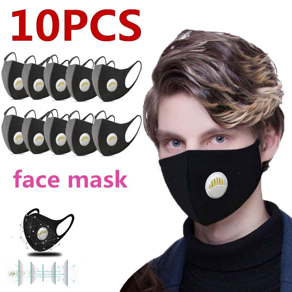 Máscaras de Poeira-respirador Máscara com Válvula de Respiração Máscara de Boca Respirável para Homens Lote Esponja Anti-poeira Anti Poluição Rosto 10 pc –